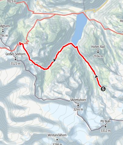 Karte / Montafoner Hüttenrunde - Wiesbadener Hütte bis Saarbrücker Hütte