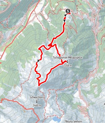 Karte / Bergtour auf die Tschaggunser Mittagsspitze 2.168 m (ab Grabs)