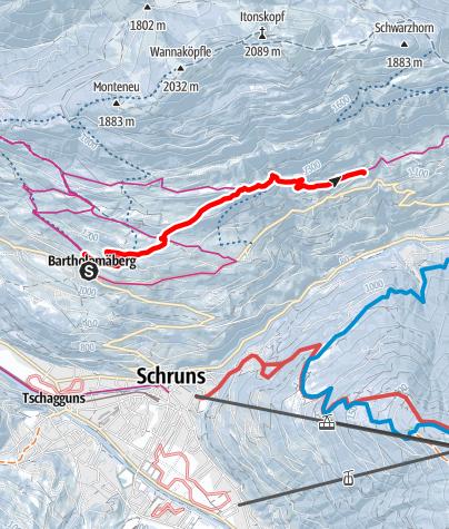 Karte / Von Bartholomäberg über Barthold Rank nach Innerberg