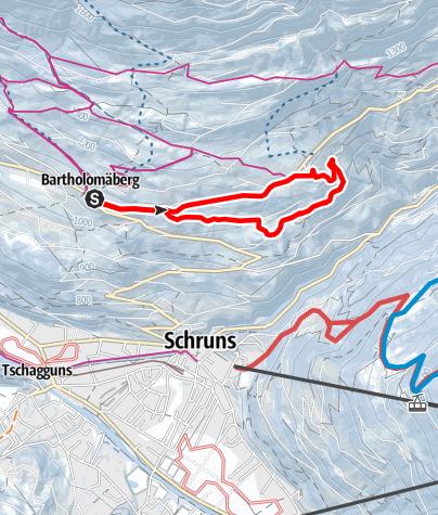 Karte / Leichter Rundweg Bartholomäberg (über Loch- und Obdörfleweg)