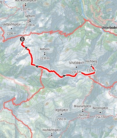 Karte / Hochberg 2324m - Bregenzer Wald - Ab Biberacher Hütte