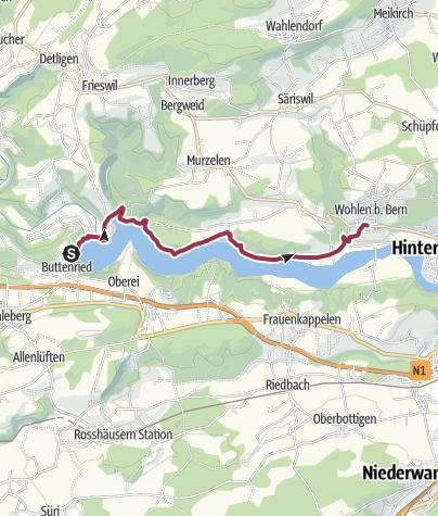 Karte / Auf dem Wohlensee-Uferweg
