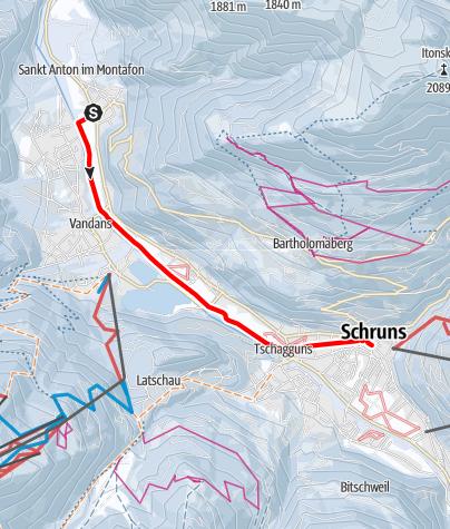 Karte / Von St. Anton im Montafon über Vandans nach Schruns