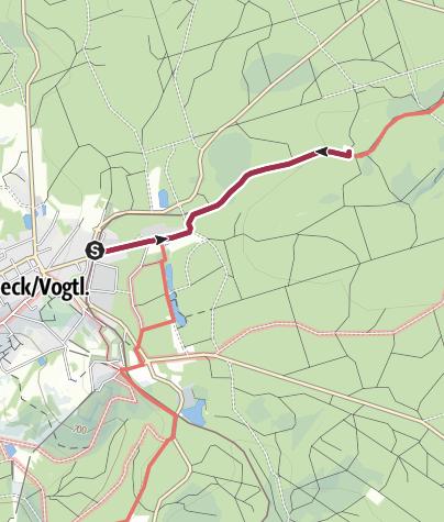 Karte / Vogtlandhütte - Weg vom Parkplatz am Bahnhof Schöneck zur DAV Selbstversorgerhütte bei Schöneck