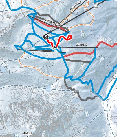 Karte / Runde auf dem Schafberg-Plateau (2.130m) in Gargellen