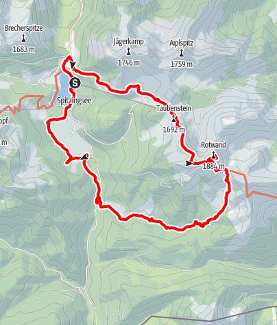 Karte / Gipfeltraumtour vom Spitzingsee zur Rotwand