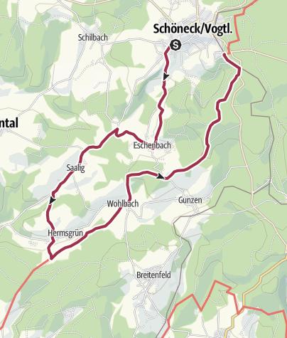 מפה / Wanderung 6 nach Eschenbach, Saalig, Hermsgrün und Wohlbach
