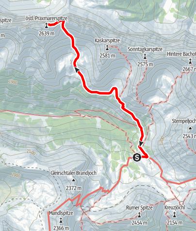 Karte / Von der Pfeishütte auf die östliche Praxmarerkarspitze 2638m