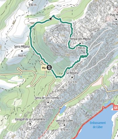 Karte / Penyal des Migdia (1398m), höchster ersteigbarer Gipfel Mallorcas