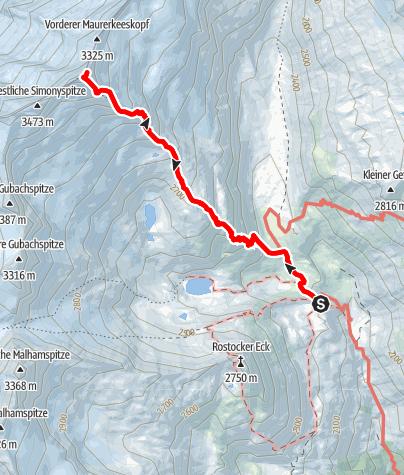Karte / Östliche Simonyspitze