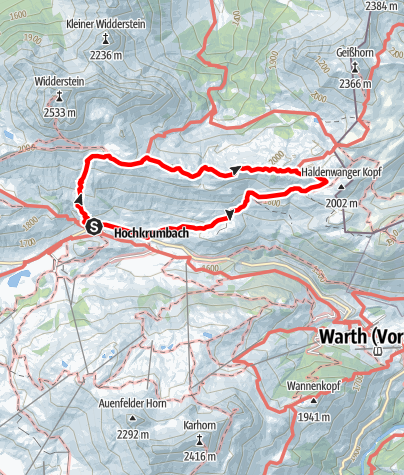 Karte / Vom Hochtannbergpass zur Widdersteinhütte