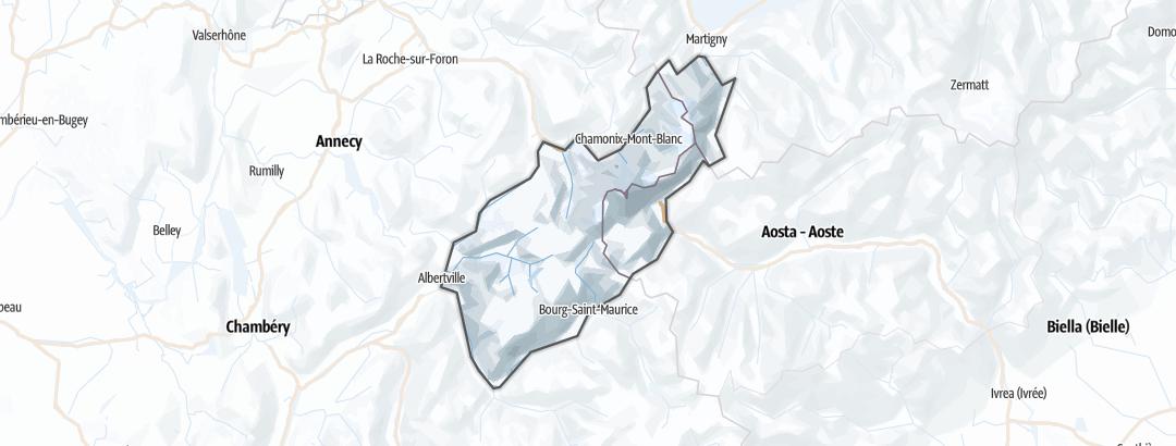 Mapa / Rutas de esquí de montaña en el macizo del Mont Blanc