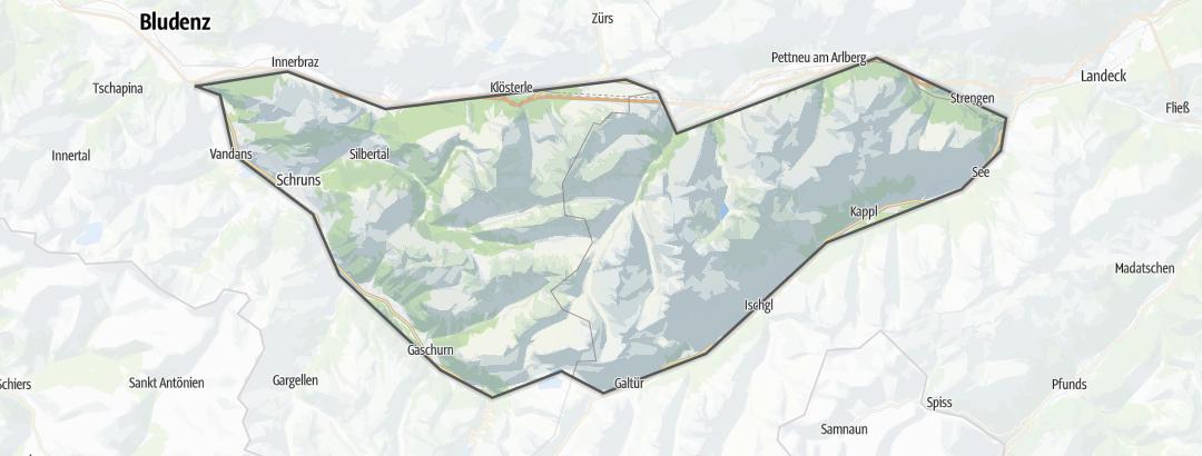 Karte / Bergtouren in der Verwall-Gruppe