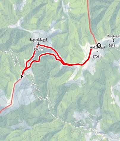 Karte / Vom alten Almhaus über den Rappoldkogel zum Salzstieglhaus und zurück