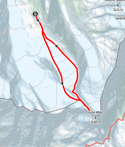 Karte / Hoch Wilde Nordspitze (3461m) und Annakogel (3336m) Überschreitung vom Hochwildehaus