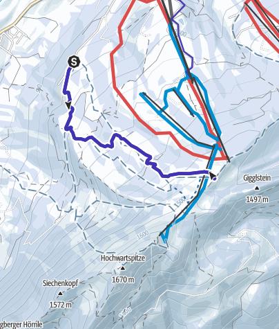 Karte / Rodeltour Kammeregg - Grüntenhütte (Grünten)