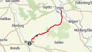 Karte der Tour Dahlener Heide-Radroute - Von der Rolandstadt zu den Hohburger Bergen
