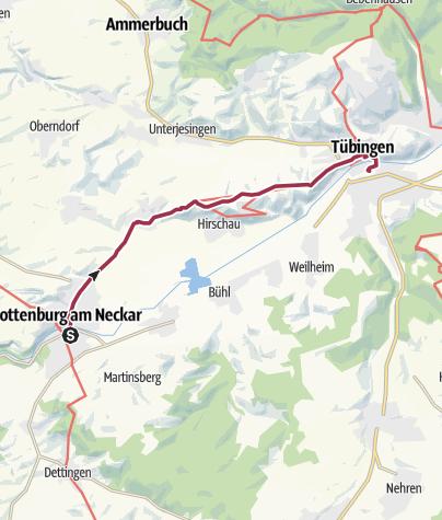 """Karte / Tour 12: Rottenburg – Tübingen: """"Auf den Spuren des Jakobswegs."""""""