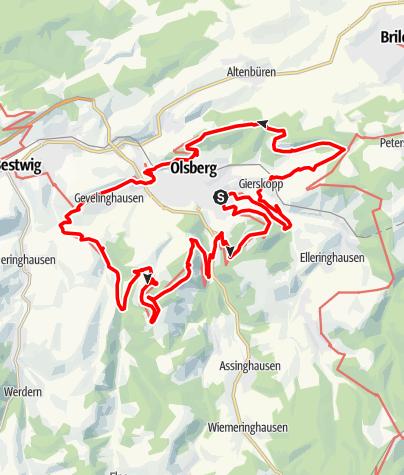 Karte / Kneippwanderweg Olsberg - Wasser, Wandern und Wohlfühlen