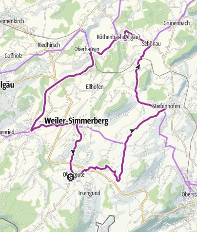 Karte / Radfahren auf der Allgäuer Käsestraße - Käse und Kräuter