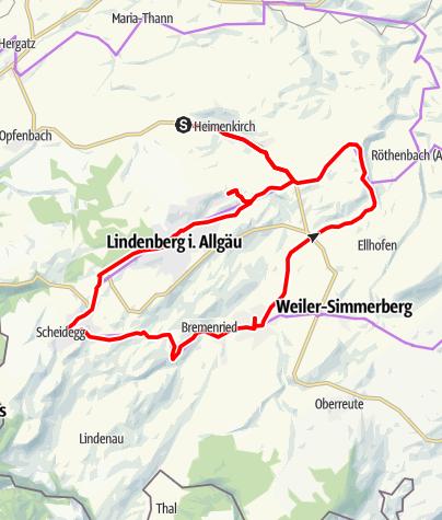 Karte / Radfahren auf der Allgäuer Käsestraße - Käse und Bier