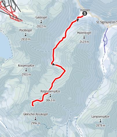 Karte / Zwieselbacher Rosskogel, 3080m, von Haggen
