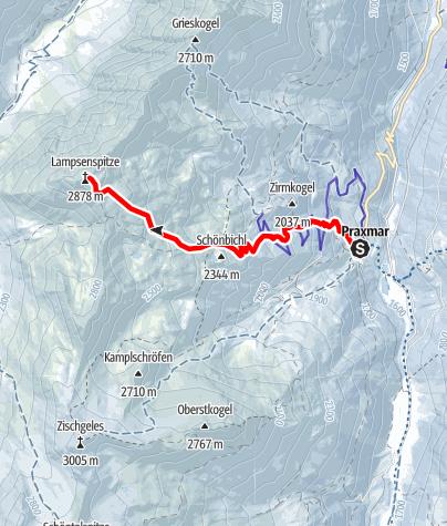 Karte / Lampsenspitze, 2875m, von Praxmar