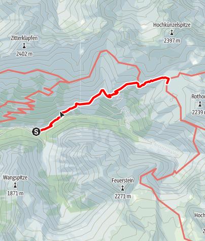 Karte / Vom Parkplatz Bad Rotenbrunnen über den Brent-Arlen Weg zur Biberacher Hütte