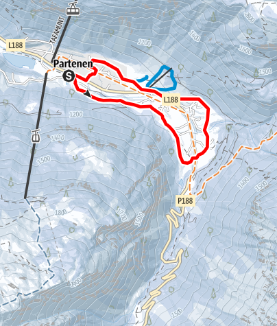 Karte / Ortsrunde Partenen über Gufelste, Mautstelle, Loch und Lifinar