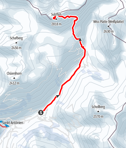 Map / Sulzfluh 2807m über Gemstobel