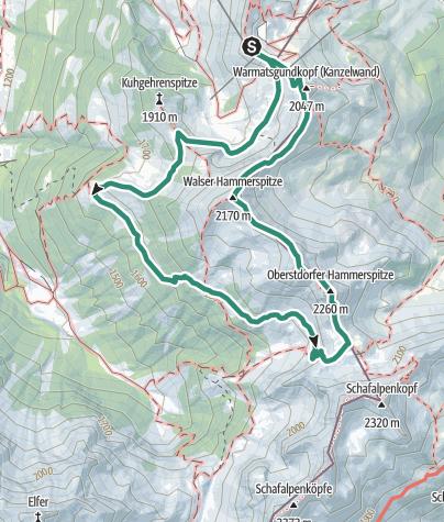 Karte / Hammerspitzen Überschreitung