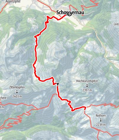 Karte / Von Schoppernau über das Töbelejoch zur Biberacher Hütte