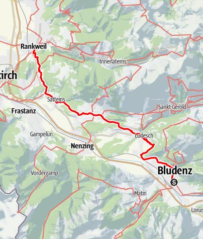 Karte / Jakobsweg Vorarlberg: Bludenz–Rankweil