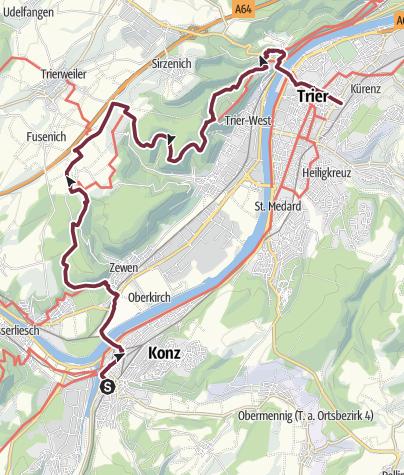 Map /  Moselsteig Trail Stage 04: Konz – Trier