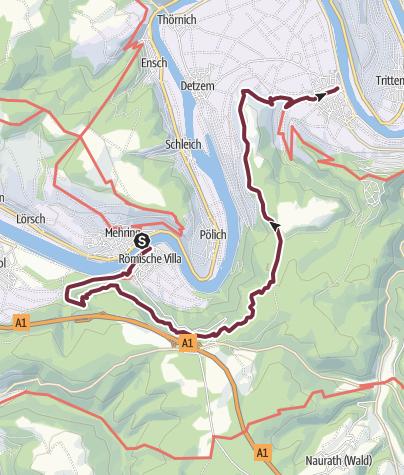 Karte / Moselsteig Etappe 07: Mehring – Leiwen