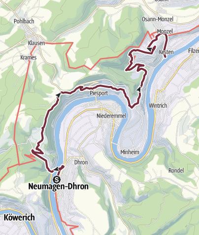 Karte / Moselsteig Etappe 09: Neumagen-Dhron – Kesten/Osann-Monzel