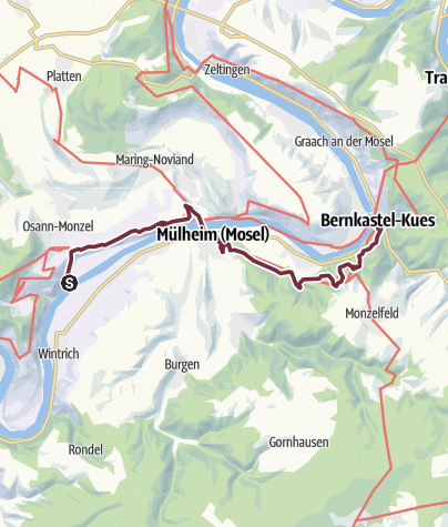 Karte / Moselsteig Etappe 10: Kesten/Osann-Monzel – Bernkastel-Kues