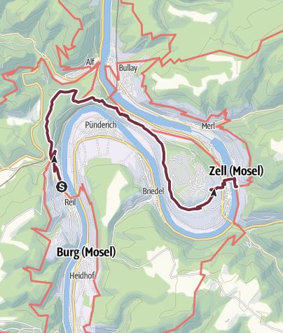 Karte / Moselsteig Etappe 14:  Reil – Zell (Mosel)