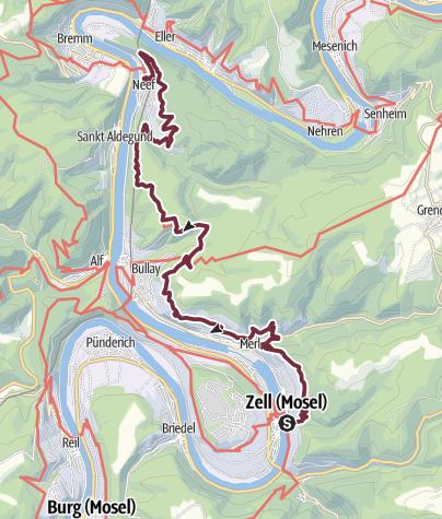 Karte / Moselsteig Etappe 15:  Zell (Mosel) – Neef