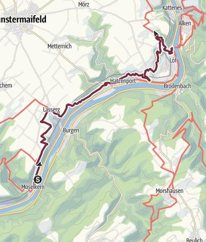 Karte / Moselsteig Etappe 21: Moselkern – Löf