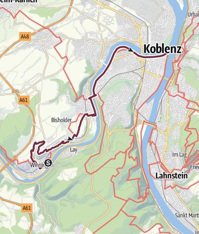 Map / Moselsteig Trail Stage 24: Winningen – Koblenz