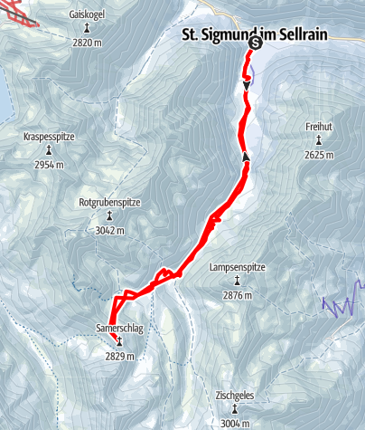 Karte / Samerschlag (Schartlkopf) über die Neue Pforzheimer Hütte