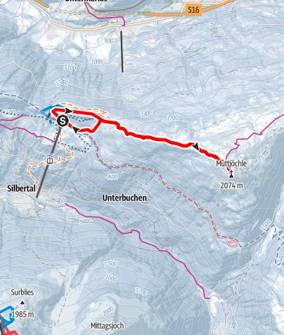 Karte / Kristberg - Muttjöchle (2.074m)