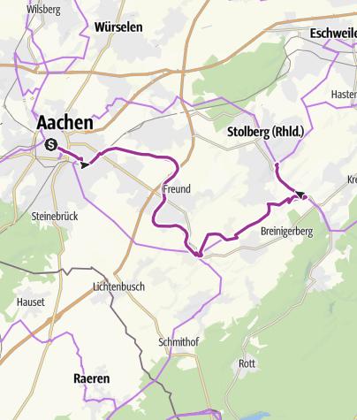 Karte / Wasserburgen-Route: Etappe 5 Aachen-Stolberg