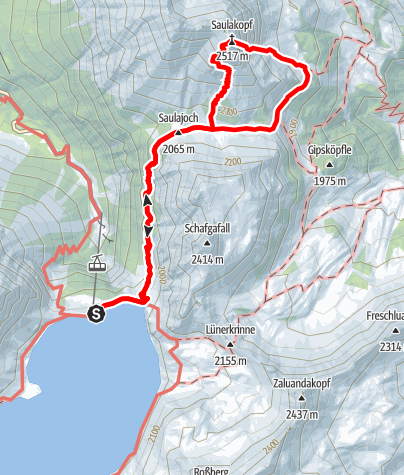 Karte / Klettersteig Saulakopf