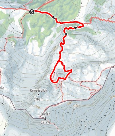 Karte / Klettersteig Gauablickhöhle, Sulzfluh - den Höhlenforschern auf der Spur