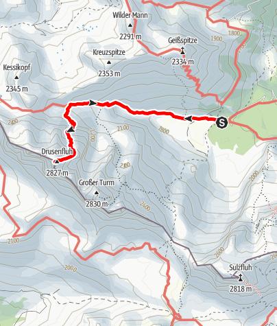 Karte / Klettersteig Blodigrinne - Drusenfluh