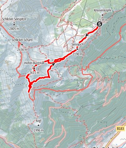 Karte / Seven Summits - Hoher Burgstall Variante 1 (über Fulpmes)