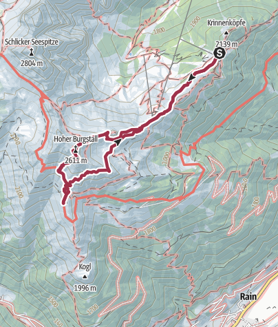 Cartina / Seven Summits - Hoher Burgstall Variante 1 (via Fulpmes)