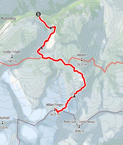 Karte / Seven Summits - Wilder Freiger Variante 1 (Sulzenau Hütte)